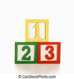 numéroté, blocks.