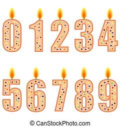 numéroté, bougies, anniversaire
