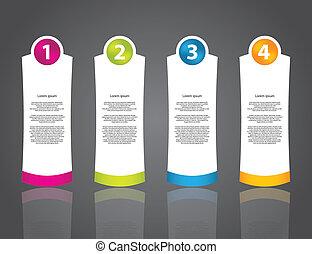 numéroté, boutons, ensemble, publicité, étiquette