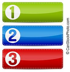 numéroté, couleur, étape, liste, bannière