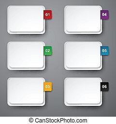 numéroté, ensemble, stickers., papier