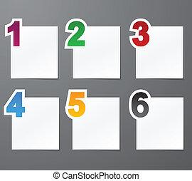 numéroté, liste, design.