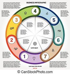 numéroté, multi-coloré, sept, positions, infographic, anneau