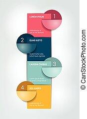 numéroté, quatre, chart., infographic, étapes, template., element.