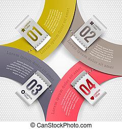 numéroté, résumé, étiquettes, forme
