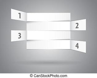 numéroté, résumé, rangées, perspective, blanc