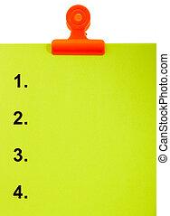 numéroté, sommet, liste, presse-papiers, 4, ou