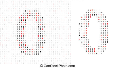 Number 0, alphabet from binary code