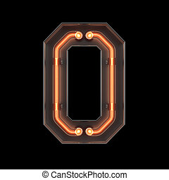 Number 0, Alphabet made from Neon Light