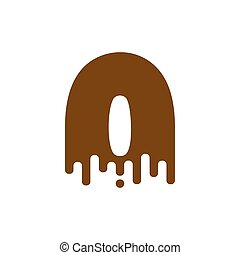 Number 0 Chocolate font. Sweetness numeral zero alphabet. Liquid lettering figure. Sweet viscous ABC sign
