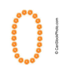 """Number """"0"""" from orange slices isolated on white"""