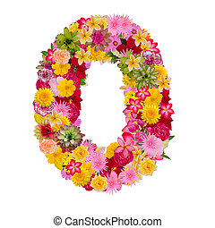 Number 0 made from flower isolated on white background. Whit clipping path