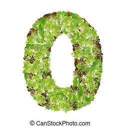 Number 0 made from hydroponics leaf vegetable isolated on white background