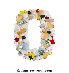 Number 0 made of pills