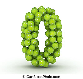 Number 0, alphabet of tennis balls