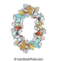 Number 0 Rubbish. Trash font zero sign. garbage alphabet symbol. Lettering litter