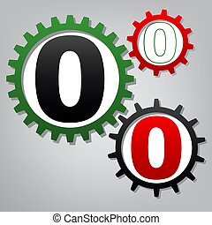 Number 0 sign design template element. Vector. Three connected g