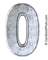 The number 0. 3D rendered Illustration. Isolated on white.