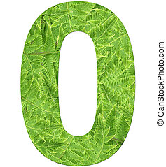 number 0 with fern texture, isolated on white background, font Helvetica World, bold