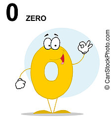 Number 0 Zero Guy With Text - Friendly Yellow Number 0 Zero...
