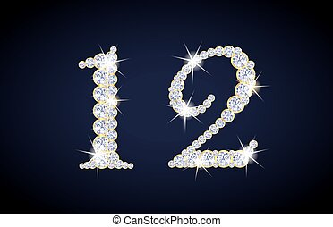 Number 1 and 2 composed from diamonds with golden frame. ...