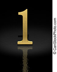 Number 1 - 1 Gold Number on black background - 3d image