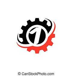 Number 1 Gear Logo Design Template