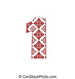 number 1  Logo Template Design made from line thai art pattern.