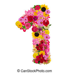 Number 1 made from flower isolated on white background. Whit clipping path