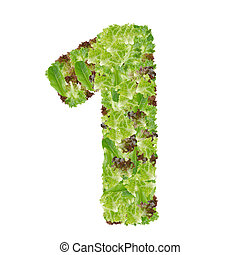 Number 1 made from hydroponics leaf vegetable isolated on white background