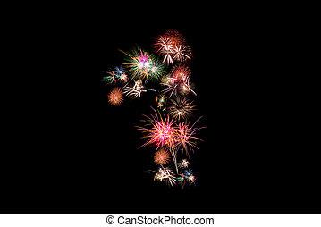 Number 1. Number alphabet made of real fireworks