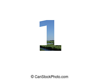 number 1 of the alphabet made with landscape