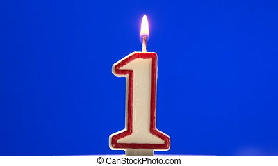 Number 1 - one birthday candle