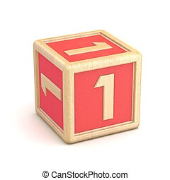 Number 1 ONE wooden alphabet blocks font rotated. 3D