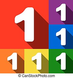 Number 1 sign design template element. Vector. Set of icons with flat shadows at red, orange, yellow, green, blue and violet background.