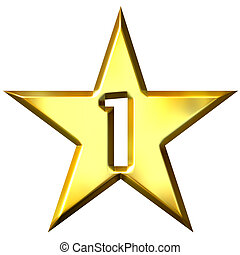 Number 1 Star - Number 1 star isolated in white