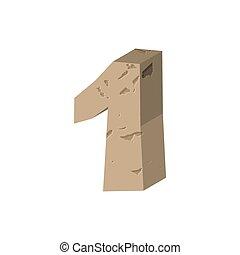 Number 1 stone. Rock font one. Stones alphabet symbol. rocky crag ABC sign