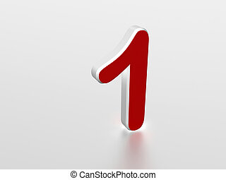 Number 1 - The number 1 - computer generated image