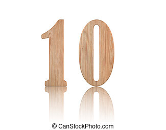 Number 10 from wood on white