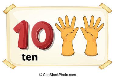 Number 10 - Illustration of a flashcard number 10
