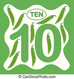 Number 10 (ten), educational card, learning counting with vegetables, mathematics. Vector illustration.