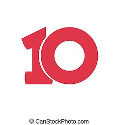 Number 10 vector symbol, simple ten text isolated