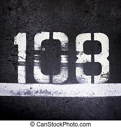 Number 108 - Number one hundred and eight, spray painted on...