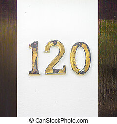 number 120 - Brass house number one hundred and twenty....