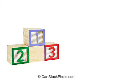 number 123 from letter wooden blocks as a podium