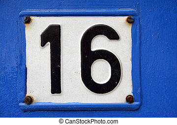 Number 16 - House address plate number 16