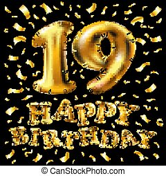 Number 19 gold celebration candle and gift box background