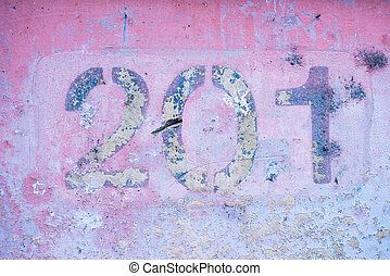 number 2 0 1 on a pink wall, two hundred and one