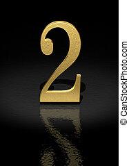 2 Gold Number on black background - 3d image