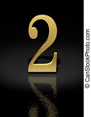 Number 2 - 2 Gold Number on black background - 3d image